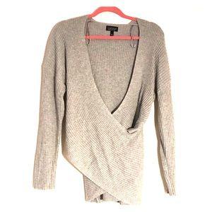 Topshop Crisscross Grey Knit Sweater